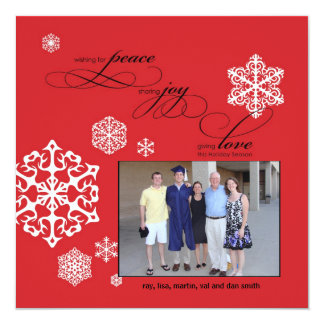 Peace, Joy and Love white snowflakes by Cotton Ink Card