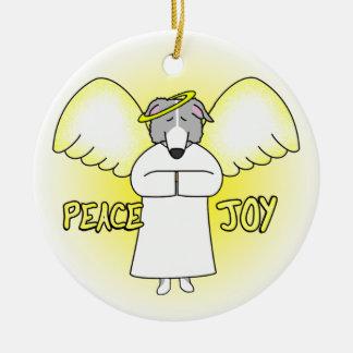 Peace Joy Angel Silver Borzoi Christmas Ornament