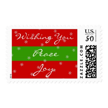 Christmas Themed Peace Joy Christmas Red Green Stripes Snowflakes Postage
