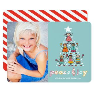 Peace & Joy Christmas Tree Kids Holiday Photo Card