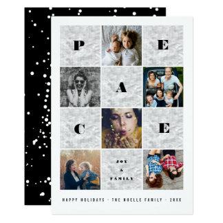 Peace Joy Family Blocks Holiday Photo Collage Card