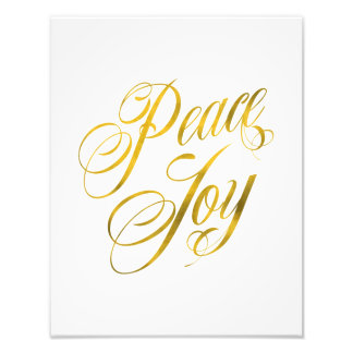 Peace Joy Faux Gold Foil Christmas Script Text Photo Print