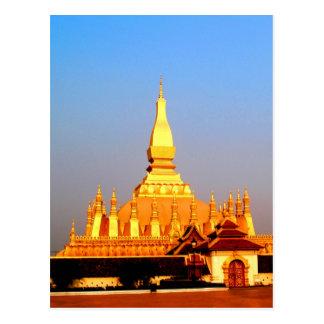 Peace joy golden pagada wat pha-that luang vientia postcard