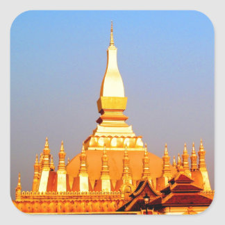 Peace joy golden pagada wat pha-that luang vientia square stickers