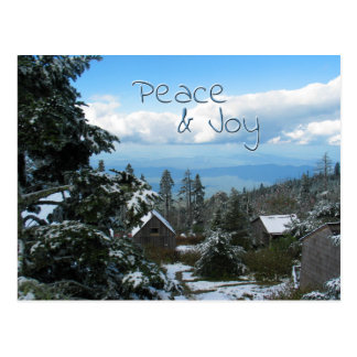 Peace & Joy Greeting from top of Mountain Postcard