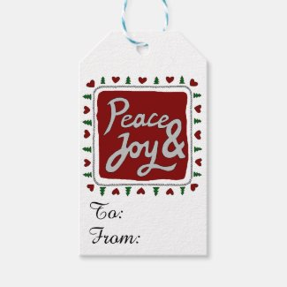 Peace & Joy Hand Lettering Holiday Gift Tags Pack Of Gift Tags