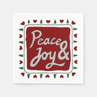 Peace & Joy Hand Lettering Holiday Paper Napkins
