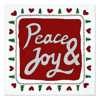 Peace & Joy Hand Lettering Holiday Photo Card