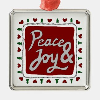Peace & Joy Hand Lettering Holiday Square Ornament