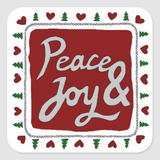 Peace & Joy Hand Lettering Holiday Stickers