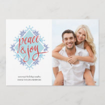 Peace & Joy Handwriting over Watercolor Snowflakes Holiday Card