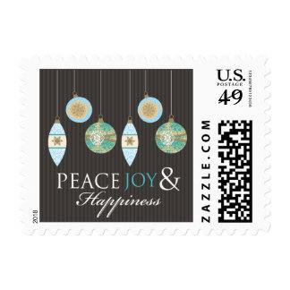 Peace Joy & Happiness Holiday Stamps (brown/blue)