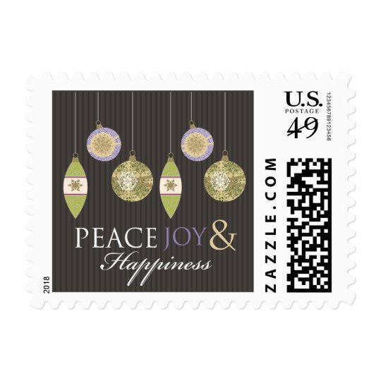 Peace Joy & Happiness Holiday Stamps (brown/lilac)