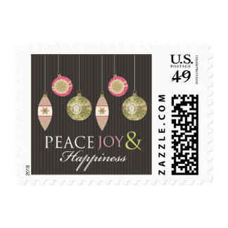 Peace Joy & Happiness Holiday Stamps (brown/pink)