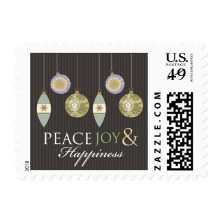 Peace Joy & Happiness Holiday Stamps (brown/sage)