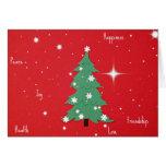 Peace, Joy, Happiness, Love...Christmas greetings Greeting Cards