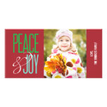 Peace & Joy Holiday Photo Card Customized Photo Card