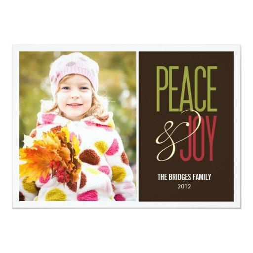 """Peace & Joy Holiday Photo Cards 5"""" X 7"""" Invitation Card"""