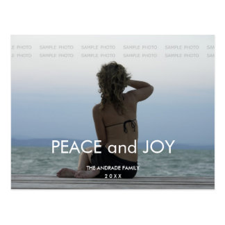 Peace Joy Holiday Photo Simple Christmas Greetings Postcard