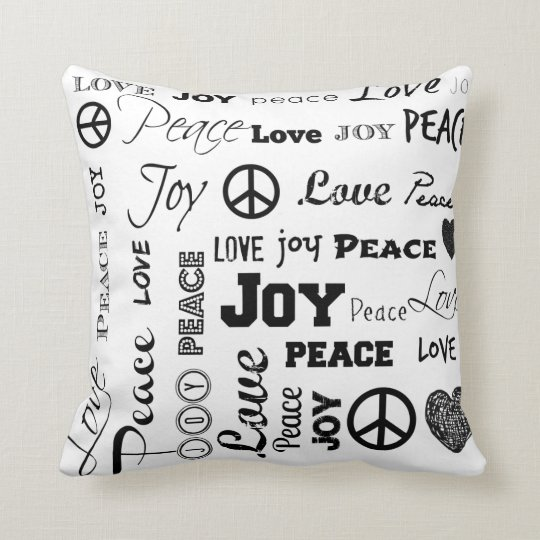 Peace Joy Love Black And White Throw Pillow Zazzle Com