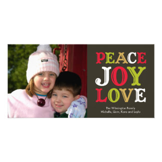 PEACE JOY LOVE block letter holiday photo greeting Card