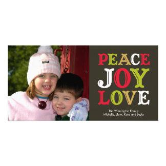 PEACE JOY LOVE block letter holiday photo greeting Photo Card