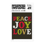 PEACE JOY LOVE block letter typography Christmas Stamps