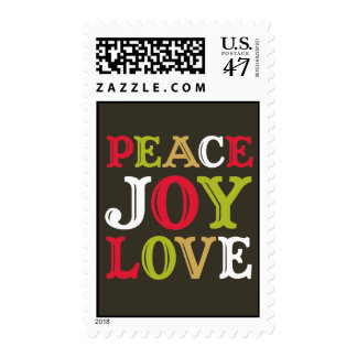 PEACE JOY LOVE block letter typography Christmas Postage Stamp