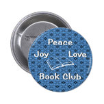 peace,joy,love,book club 2 inch round button