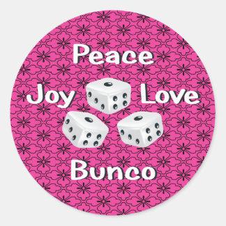 peace,joy,love,bunco classic round sticker