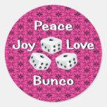 peace,joy,love,bunco round sticker