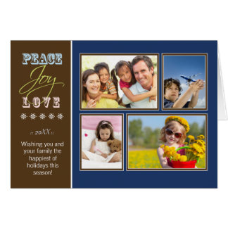 Peace-Joy-Love custom Family Holiday Card (navy)