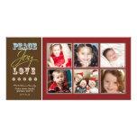Peace-Joy-Love Family Holiday Photocard (crimson) Customized Photo Card