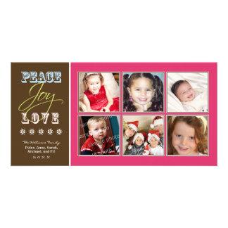 Peace-Joy-Love Family Holiday Photocard (fuchsia) Card