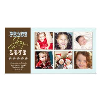 Peace-Joy-Love Family Holiday Photocard ice Photo Cards