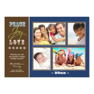Peace-Joy-Love Family Holiday Photocard (navy) Card