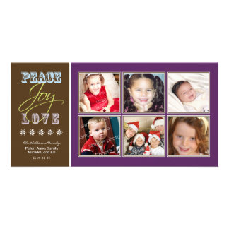 Peace-Joy-Love Family Holiday Photocard (purple) Card