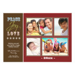 Peace-Joy-Love Family Holiday Photocard (red) Personalized Invitations