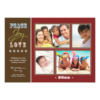Peace-Joy-Love Family Holiday Photocard red Personalized Invitations