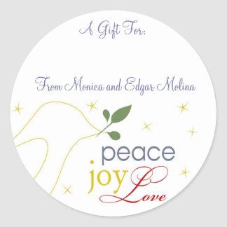 Peace, Joy, Love Gift Tags Classic Round Sticker