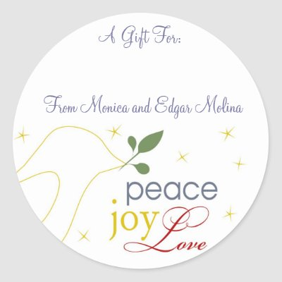 Custom gift tags featuring a Dove, spreading God's message of peace, love