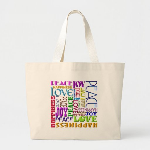 Peace Joy Love Happiness Tote Bags
