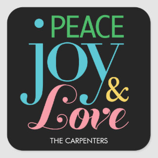 Peace Joy & Love Holiday Gift Stickers