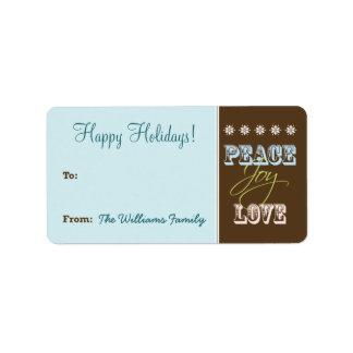 Peace-Joy-Love Holiday Gift Tag (aqua) Address Label