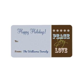 Peace-Joy-Love Holiday Gift Tag (blue) Address Label