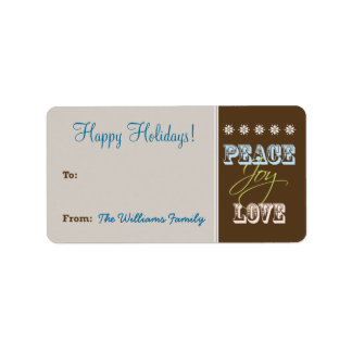 Peace-Joy-Love Holiday Gift Tag (chocolate) Personalized Address Label