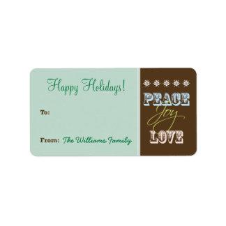Peace-Joy-Love Holiday Gift Tag (green) Custom Address Labels