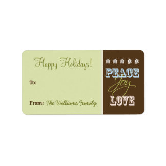 Peace-Joy-Love Holiday Gift Tag (lime green) Custom Address Label