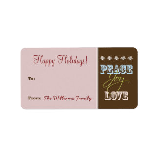 Peace-Joy-Love Holiday Gift Tag (maroon) Personalized Address Label