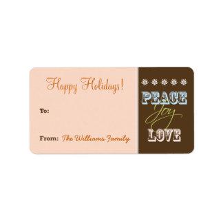 Peace-Joy-Love Holiday Gift Tag (peach) Custom Address Label